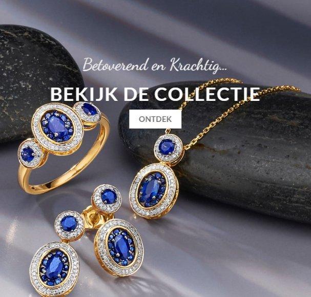 Mooie gouden sieraden met blauwe diamanten