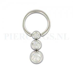 BCR 1.2 mm 3 balletjes kristal