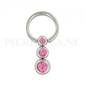 BCR 1.2 mm 3 balletjes roze