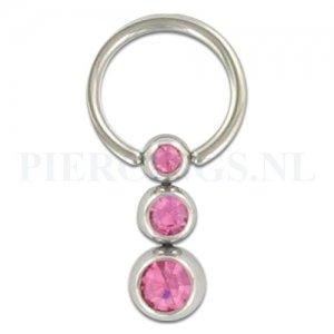 BCR 1.6 mm 3 balletjes roze