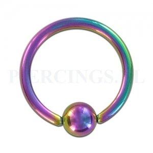 BCR 1.6 mm x 13 mm diameter x 5 mm geanodiseerd rainbow