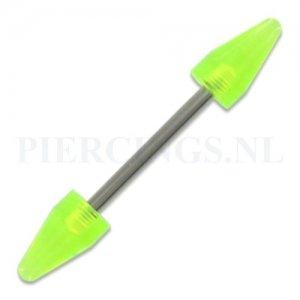 Barbell acryl cones UV geel doorzichtig