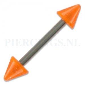 Barbell acryl spike 1.6 mm oranje glitters