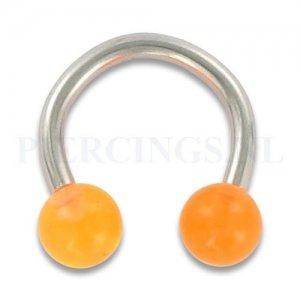 Circulair barbell 1.6 mm acryl oranje