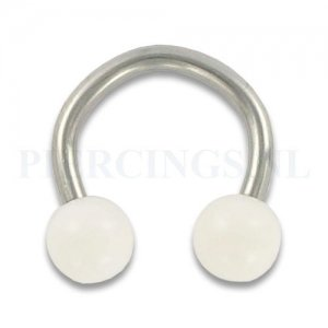 Circulair barbell 1.6 mm acryl wit