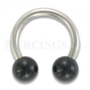 Circulair barbell 1.6 mm acryl zwart