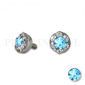 Dermal balletje 4 mm licht blauw met meerdere kristallen