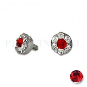 Dermal balletje 4 mm rood met meerdere kristallen
