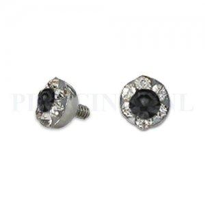 Dermal balletje 4 mm zwart met meerdere kristallen