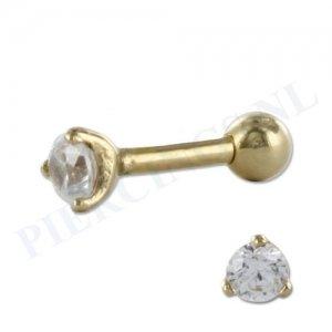 Helix goud 14 karaat met kristal