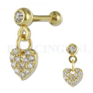 Helix goud kleur hangend hart kristallen