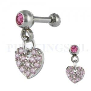 Helix hangend hart kristal roze