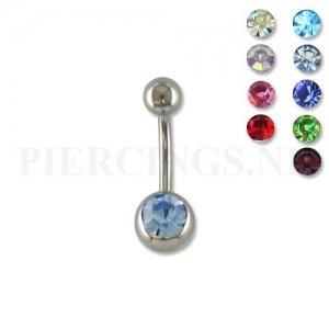 Juwelen navelpiercing 10 mm met 1 steentje aquamarijn