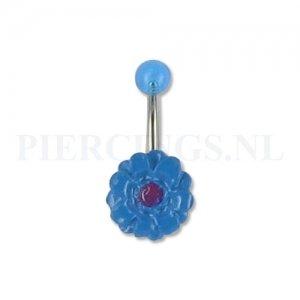 Navelpiercing acryl bloem blauw paars