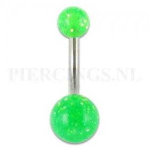 Navelpiercing acryl glitter groen