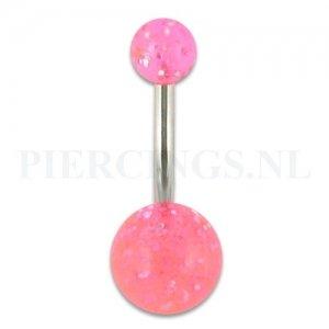 Navelpiercing acryl glitter licht roze