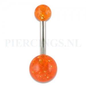 Navelpiercing acryl glitter oranje