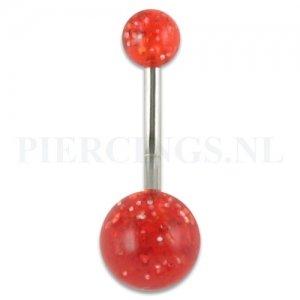 Navelpiercing acryl glitter rood