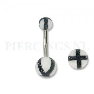 Navelpiercing acryl kruis zwart met wit