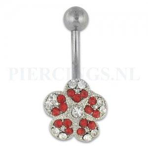 Navelpiercing bloem rood en kristal
