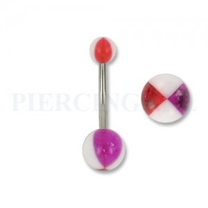 Navelpiercing geblokt wit rood paars 10 mm