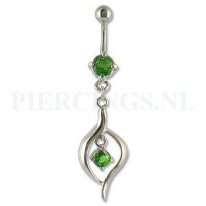 Navelpiercing hangend kristal groen