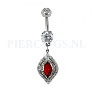 Navelpiercing hanger kristal rood