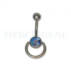 Navelpiercing kristalblauw met extra ring