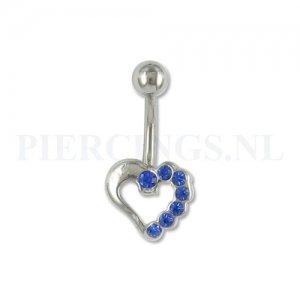 Navelpiercing open hart blauw