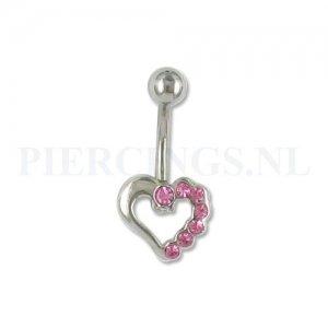 Navelpiercing open hart roze