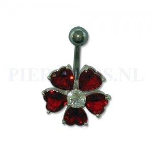 Navelpiercing sterling zilver bloem rood