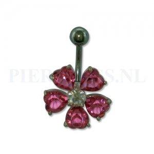 Navelpiercing sterling zilver bloem roze