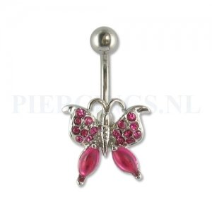 Navelpiercing vlinder gemstone roze