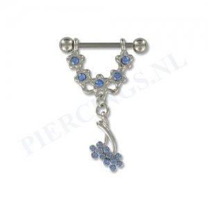 Tepelpiercing hangende bloem blauw