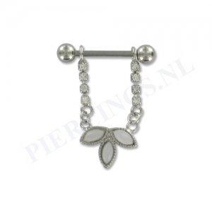 Tepelpiercing hanger bloem kristal