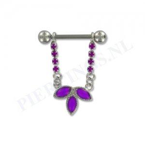 Tepelpiercing hanger bloem kristal paars