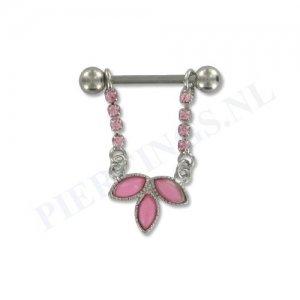 Tepelpiercing hanger bloem kristal roze