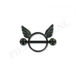 Tepelpiercing shield engel zwart