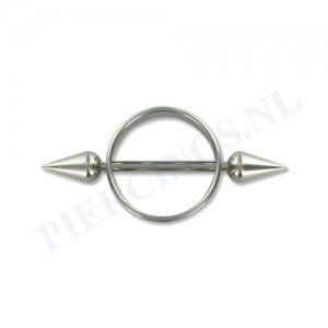 Tepelpiercing shield ronde spikes XL