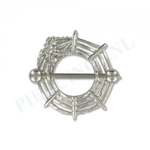Tepelpiercing shield spinnenweb