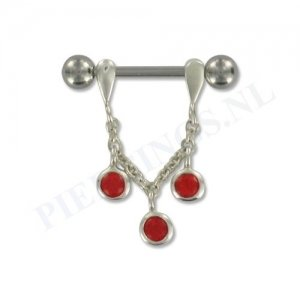 Tepelpiercing zilveren hanger rood