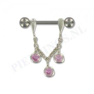 Tepelpiercing zilveren hanger roze
