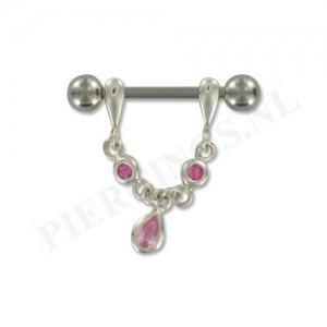 Tepelpiercing zilveren hanger roze druppel