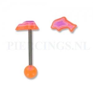 Tongpiercing acryl dolfijn oranje-paars