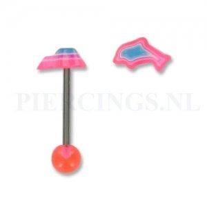 Tongpiercing acryl dolfijn roze-paars-blauw