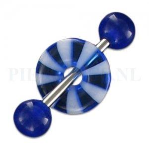 Tongpiercing acryl donut blauw strandbal
