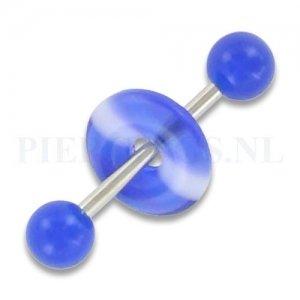Tongpiercing acryl donut blauw streep
