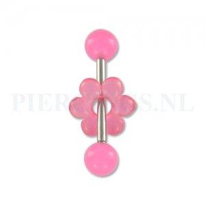 Tongpiercing acryl donut bloem roze