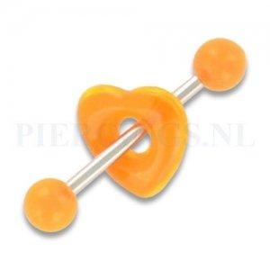 Tongpiercing acryl donut hart oranje