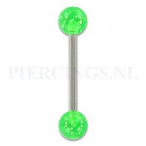 Tongpiercing acryl glitter groen